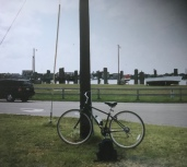 The bike is resting