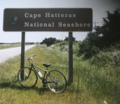 Cape Hatteras welcomes the bike and me.
