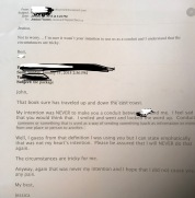 The e-mail that I sent with his response.
